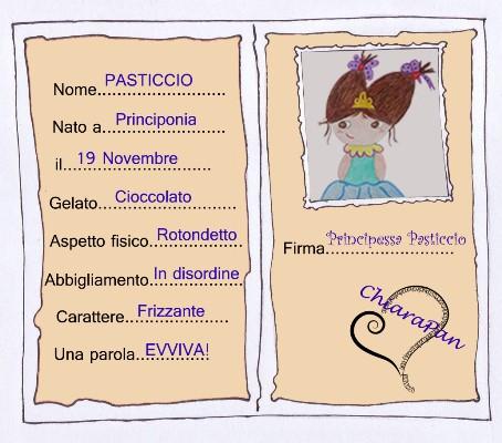 Carta Identità Principessa Pasticcio